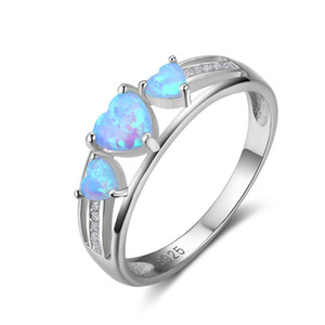 Wholesale high quality pop Heart Cut Opal Rings Unique Blue Fire Opal Ring Sterling Silver Engagement Wedding Heart Rings Jewelry Gift