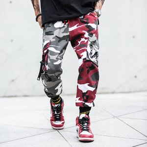 Wholesale Mens Kanye West Cargo Pants Contrast Color Red Purple Camouflage Trousers Drawstring High Street Loose Joggers
