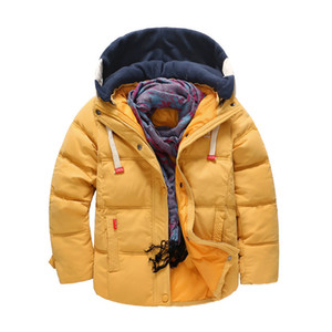 White Duck Down Thermal Big Boys Jacket Thicken Hooded Kids Puffer Children's Warm Coat for Cold Weather 25 Below Zero