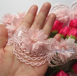 Wholesale Lace Arts Tool x Pink Pearl Chiffon Flower Embroidered Lace Edge Trim Ribbon Applique Fabric Handmade Diy Wedding Dress Sewing Craft