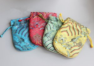Wholesale Wave Drawstring Chinese Silk Brocade Jewelry Pouch Vintage Large Fabric Bracelet Gift Bag Coin Purse Storage Pocket x17 cm