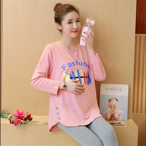 New Arrival 2018 Pregnant Women Spring Fashion Letter Printing Button O Neck Long Sleeve T Shirt Tees Maternity Cotton Shirts