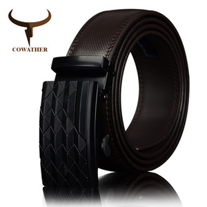 Wholesale COWATHER Men s Automatic Buckle belt with Cow Genuine Leather BLACK BROWN Belts for Men brand Wide cm CZ058