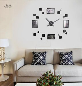 Wholesale new design european style photo frame DIY digital black clock fashion creative personality bedroom living room wall clock