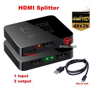 Wholesale hdmi stb cable resale online - 5pcs HDMI splitter in out high definition k k for Pc PS3 DVD STB convert to projector HDTV LCD HDMI Splitter shipping free