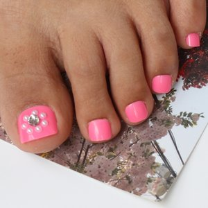 Wholesale New pink glossy fake foot toenails art tips shiny rhinestones white pearl applique art nails pce set B10