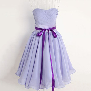 Wholesale Simple Sweetheart Short Party Dresses Light Purple Chiffon Homecoming Dress 2018 Short Prom Dress Vestido de Festa Curto Cocktail Party Gown