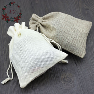 Wholesale ivory wedding gift bags resale online - 50pcs Blank Burlap Wedding Favor Bags Natural Ivory Drawstring Jute Party Gift Bags Jewelry Bags Herbs Pouches Sachet DZ0030