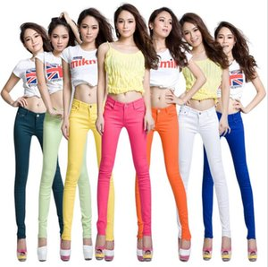2018 spring new Korean version of the thin candy color pencil pants stretch feet casual pants jeans women