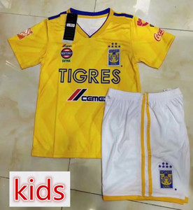 Wholesale Kids Mexico Tiger Home Yellow Soccer Jersey Tigres UANL child kit Soccer sets Mexico Club Football Uniform Sales