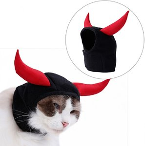 Wholesale Halloween Pet Monster Costumes Devil Head Cover For Cat Hat Cosplay Teddy Puppy Kitten Horn Turnover Hat Turban Pet Accessories