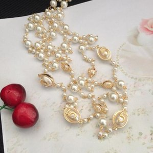 Wholesale Fashion Wild Small Fragrance Number Pearl Sweater Necklace Multilayer Long Sweater Necklace Jewelry