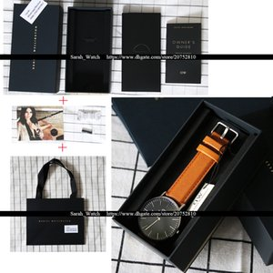 Best Quality 40mm Men Watch Leather Watchband Stainless Steel Case Japan Movement Waterproof + Black Box + Black Bag relogio masculino