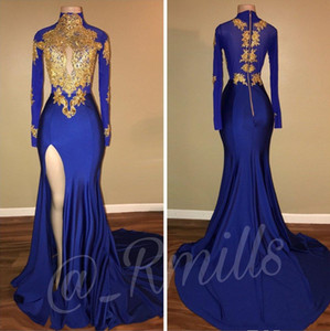2018 Party Prom Dresses Royal Blue Vintage High Collar Gold Lace Applique Long Sleeves Mermaid Split Side High Evening Gowns on Sale