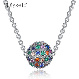 Wholesale Beautiful color crystal suspension pendant ball design charm necklace elegant fashion pendants best gift nice jewelry