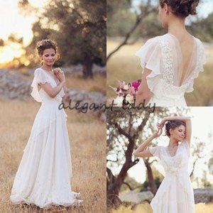 Hippie Country Wedding Dresses 2018 Vintage Retro V-neck Ruffles Sleeve Full Length Fairy Maternity Pregnant Beach Country Wedding Gown