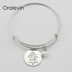 Wholesale DNA DOESN T MAKE YOU FAMILY LOVE DOES Inspired Hand Stamped Engraved Pendant Bracelet Bangle Gift Metal Stamped Jewelry LN1937B