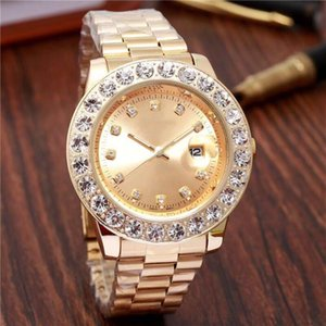 relogio masculino diamond mens watches fashion Black Dial Calendar gold Bracelet Folding Clasp Master Male 4545 gifts couples