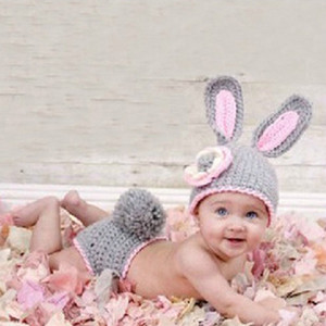 Wholesale Baby Girls Rabbit Outfits Knitted Newborn Clothing Set Photo Props Crochet Animal Hat For Girls