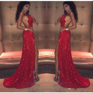 Sexy Red Sequins Prom Dresses Long 2018 Mermaid Thigh-High Slits Spaghetti Straps Backless African Black Girl Celebrity Evening Gowns