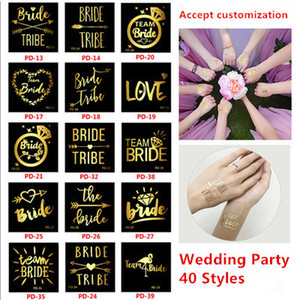 Wedding party Temporary Tattoos Waterproof wedding sticker Bride single party gilt tattoo stickers golden wedding sticker 40 styles