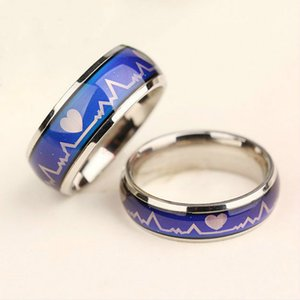Wholesale Women Men Emotion Feeling Changing Color Mood Temperature Couple Ring Jewelry