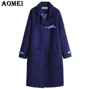 Wholesale Women Casual Fashion Wool Coats Navy Blue Wear to Work Office Lady Outwear Clothing Tweed New Fall Autumn Overcoat Cape