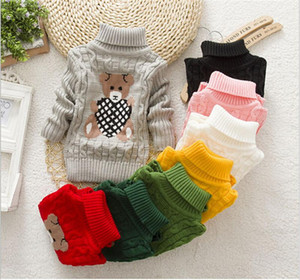 High Quality Baby Girls Boys Pullovers Turtleneck Sweaters Autumn Winter Warm Cartoon Kids Sweater 40410.41
