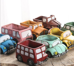 Wholesale Cartoon Ceramic Vase Succulent Plants Mini Garden Vintage Car Shaped Flowerpot Truck Planter Miniature Planters Home Office Decoration