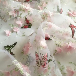 Wholesale 1Yard cm African Lace Fabric Lace Fabric Floral Organza Fabric Organza Print Embroidered Fabric Chiffon Butterfly Cloth