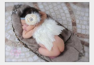 Wholesale White Newborn Feather Wings Baby Angel Wings with Headband Newborn Photography Props Little Girl Hair Accessory
