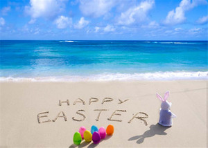 Wholesale Happy Easter Day Beach Photography Backdrop Vinyl Printed Colorful Eggs Rabbit Baby Newborn Photo Props Blue Sky Sea Background for Studio