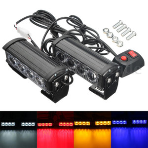 Wholesale DHL 20PCS 2PCS Set 7-Flashing Mode 12V 4 LED Strobe Flash Grille Light Warning Hazard Emergency Lamp Car Truck