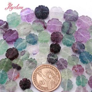Wholesale 10 mm Carved Flower Multicolor Fluorite Quartzs Natural Stone Loose Bead For DIY Bracelet Jewelry Making quot