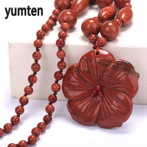Wholesale Yumten Beautiful Necklace Flowers Pendant Elegant Women Jewelry Goldstone Charm Popular Style Gift Collier Colar Chain Bijoux