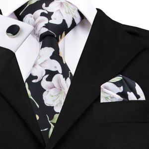Wholesale 2017 Newest Tie Sets Print Mens Ties Neck Ties Handkerchief Cufflinks Black Neckties with White Flower Gravata Corbatas C