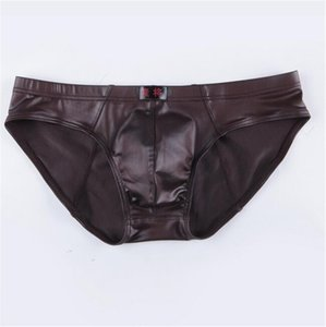 Wholesale Fashion Mens U Convex Underwear Wild Mens Faux Leather Briefs Men High Quality Seamless Brief