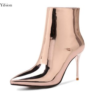 Wholesale Yifsion Hot Winter Women Ankle Boots Super Sexy Thin High Heels Boots Pointed Toe Silver Champagne Prom Shoes Women US Size