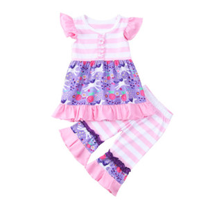 Wholesale Hot Infant Girl Clothes Flutter Sleeve Unicorn Ruffles Dress Tops Striped Flares Pants Summer Baby Girls Clothes Set Toddler Kids Outfits