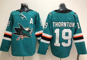 Wholesale New San Jose Sharks Jerseys Thornton New Brand Hockey Jerseys Teal Green Color Size M XXXL Mix Order High Quality All Jerseys