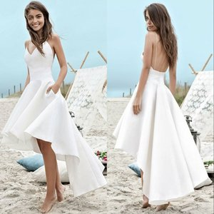 Wholesale Simple Summer Beach Wedding Dresses A Line Boho Bridal Gowns High Low Backless Spaghetti Straps Holiday Gowns