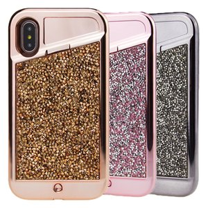 Wholesale LED Light phone Case Iphone X Diamond Bling Rhinestone Hybrid TPU Hard PC Back Cover for Iphone X plus plus