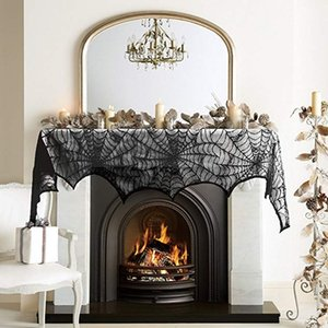 Wholesale 18 inch Halloween Spider web Tablecloth black lace Fireplace Scarf for House Decoration Dinner Party in stock