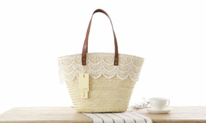 Wholesale new Japanese style lace lace shoulder bag simple green woven bag temperament fashion wild straw handbag