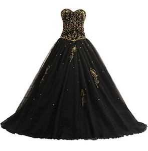 Wholesale colorful black gold resale online - Gothic Black Ball Gown Wedding Dresses With Gold Embroidery Corset Lace up Back Princess Vintage Non White Colorful Bridal Gowns Custom Made