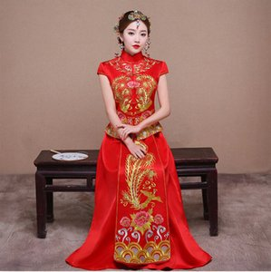 Wholesale Bride Fall Clothes Vintage Chinese Style Wedding Dress Retro Toast Clothing Embroidery Phoenix Gown Marriage Cheongsam Qipao