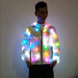 Wholesale New Colorful Led Luminous Costume Clothes Dancing LED Growing Lighting Robot Men Suits Clothing Event Party Supplies Stage Prop