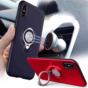 Wholesale For IPHONE XR XS MAX Armor Phone cases Dual Layer With Iron Sheet Magnetic Ring Car Holder Magnetic Bracket Ring Cases