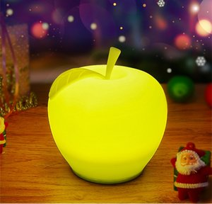 Wholesale New Cute Apple Soft Silicone Lamp USB Charge LED Color Festival Decorative Sleep Night Light Children Gift HY