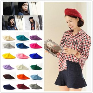Wholesale Beret Hat Solid Wool French Artist Warm Beanie Hat Winter Ski Cap Plain Beret Hat Wool Crochet Hats CNY842